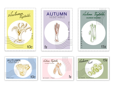 Autumn Vegetables, Post Stamps Set of Hand Drawn Sketch Fennel, Lemongrass, Kurrat or Broadleaf Wild Leek, Spring Onion, Green Pea and Grape Tomatoes in Trendy Origami Deep Paper Art Carving Style. Ilustracja