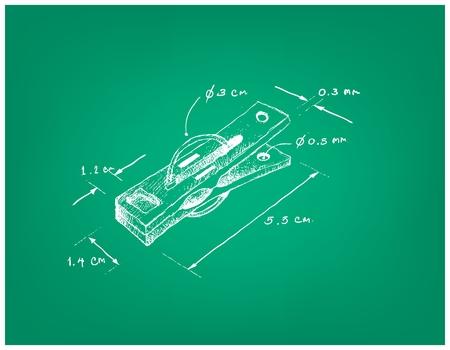 Illustration Croquis dessiné à la main Dimension de pince à linge ou pince à linge. Une attache utilisée pour suspendre les vêtements à sécher sur une ligne.