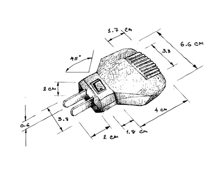 Illustration Hand Drawn Sketch Dimension of Power Plug Isolated on White Background. An Electric Equipment to be Connected to The Power Supply in Buildings and Other Sites.