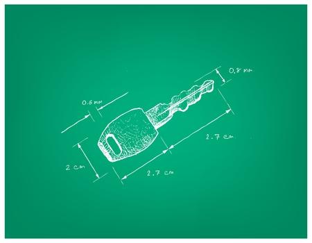 Illustration Hand gezeichnete Skizze Dimension der Tastensperre. Ein Gerät zur Bedienung eines Schlosses. Vektorgrafik