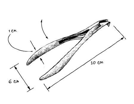 Illustration Hand Drawn Sketch Dimension of Nail Clipper or Nipper Type Isolated on White Background. A Hand Tool Used to Trim Fingernails, Toenails and Hangnails. Vettoriali