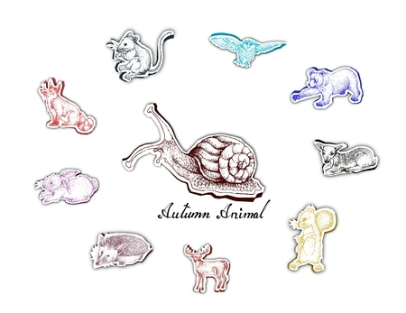 Illustration Hand Drawn of Autumn Animal in Trendy Origami Deep Paper Art Carving Style. Symbolic Animal to Show The Signs of Autumn Season.