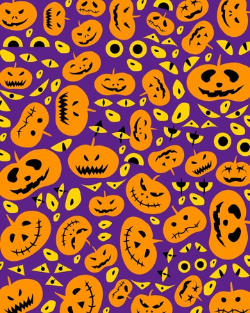 Illustration Set of Happy Jack-o-Lantern Pumpkins and Evils on Purple Background For Halloween Celebration Party.