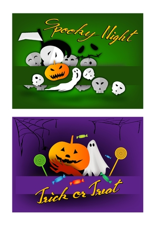 Illustration Set of Happy Jack-o-Lantern Pumpkins and Evils Spooky Background For Halloween Celebration Party. Ilustração