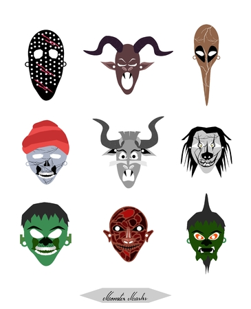 Holidays And Celebrations, Illustration Set of Demon, Monsters and Devil Masks For Halloween Celebration Party. Stock Illustratie