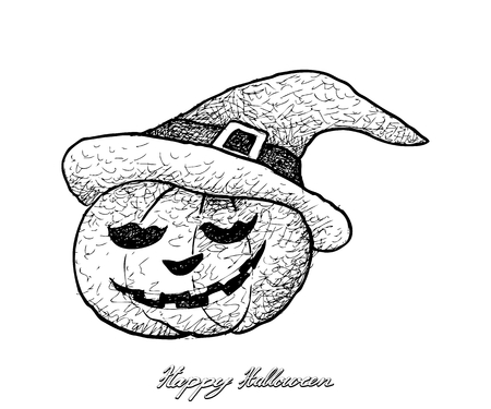 Holidays And Celebrations, Illustration Hand Drawn Sketch of Jack-o-Lantern Pumpkins Isolated on White Background. Sign For Halloween Festival. Vetores