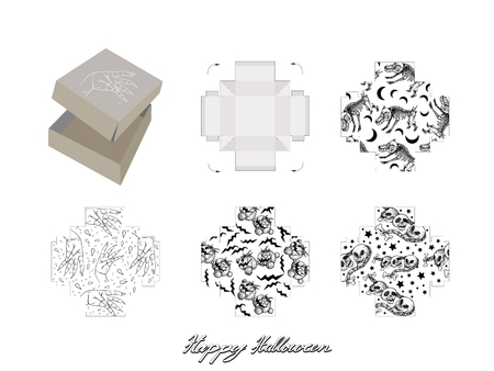 Die Cut Template Pattern of Takeaway Carton Box Mock Up for Package Design with Jack-o-Lantern Pumpkins, Evils and Monsters for Halloween Celebration Party.