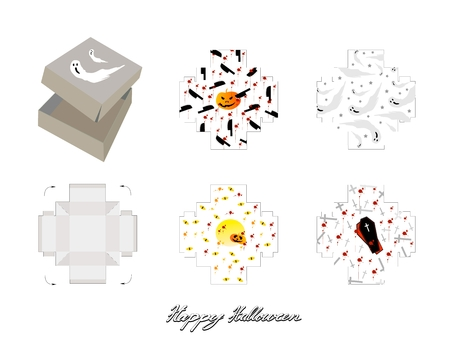 Die Cut Template Pattern of Takeaway Carton Box Mock Up for Package Design with Jack-o-Lantern Pumpkins, Ghost and Vampire for Halloween Celebration Party.