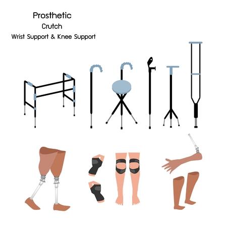 Concept médical, Collection d'illustrations de prothèse de jambe, de genou et de bras, de béquilles et de marcheurs avec soutien du poignet et du genou.