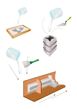 Artist Pouring Liquid Plaster of Paris, Rubber, Concrete or Resin in A Molded Casting to Make A Relief Statue Isolated on White Background Illustration