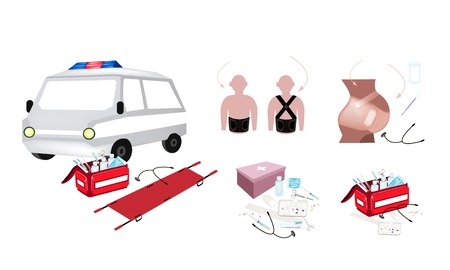 Medical Concept, Illustration of Ambulance and First Aid Box Filled with Medical Supplies for Emergencies Isolated on A White Background. Illustration