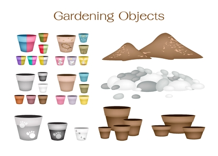 Illustration of Ceramic Flower Pots or Clay Plant Pots with Pebbles and Potting Soil for Growing Plants, Herbs and Vegetables.