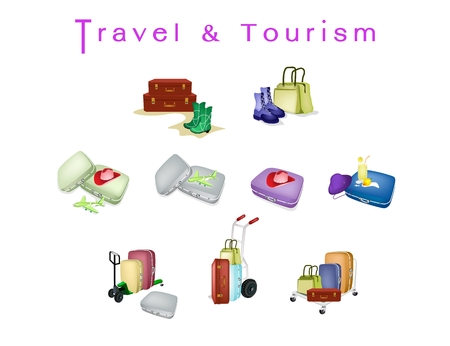 Hand Truck or Dolly Loading Luggage or Travel Suitcases with Model Aircraft of Traveler, Preparing to Travel Abroad. Иллюстрация