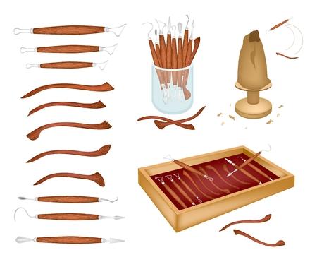 Illustrazione raccolta di strumenti di scultura utilizzati per tagliare e scolpire l'argilla per creare una scultura isolata su sfondo bianco.