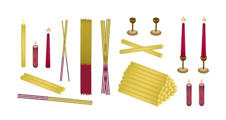 Fare oggetti di merito, illustrazione di un assortimento di candele, portacandele e bastoncini di incenso isolati su sfondo bianco. Vettoriali