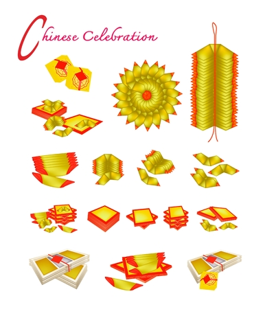 Traditional Chinese, Chinese Gold and Joss Paper or Ghost Money for Chinese New Year Celebration and Special Occasions.