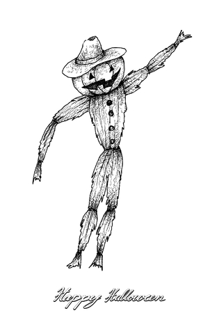 Holidays And Celebrations, Illustration Hand Drawn Sketch of Scarecrow Isolated on White Background. Sign For Halloween Festival. Ilustração