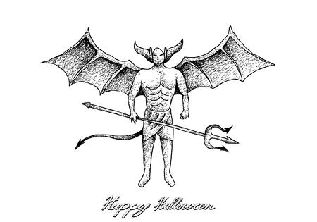Fiestas y celebraciones, Ilustración boceto dibujado a mano del diablo Satanás. Firmar para la celebración de Halloween.