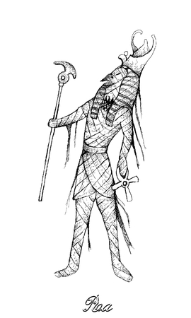 Illustration Hand Drawn Sketch of Ra or Re Isolated on White Background. A God Associated with The Mummification and Afterlife in Ancient Egyptian Religion.