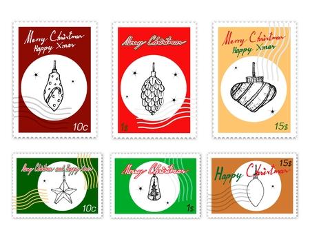 Joyeux Noël, ensemble de timbres de poste d'illustration croquis dessinés à la main de divers styles de belles lumières de Noël, l'un des symboles de Noël les plus souvent vus. Vecteurs