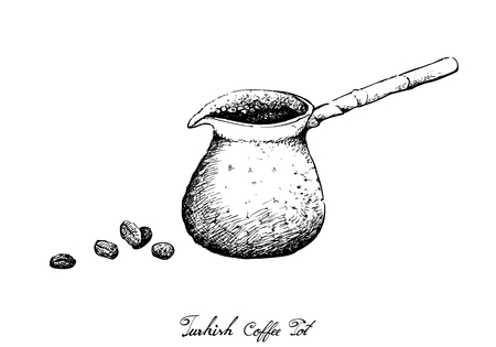 Turkish Cuisine, Turkish Coffee with Cezve or Coffee Pot. One of The Popular Drink in Turkey. Stock Illustratie