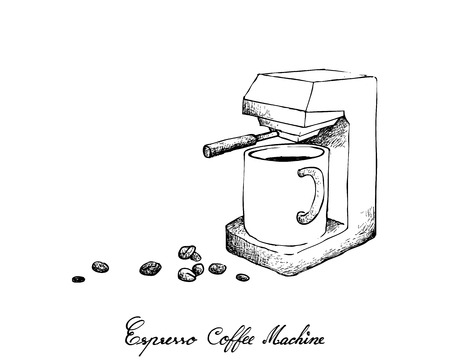 Illustration Hand Drawn Sketch of Coffee Beans with Espresso Machine Isolated on White Background. An Appliance Used to Brew Coffee. Ilustração