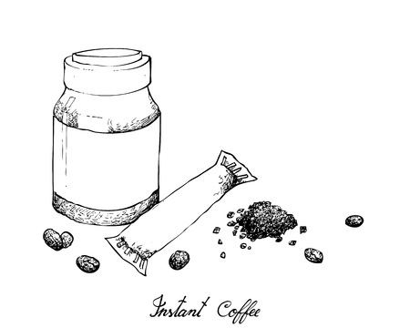 Illustration Hand Drawn Sketch of Instant Coffee or Coffee Powder Isolated on White Background.