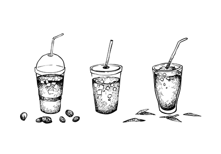 Drink and Beverage, Illustration Hand Drawn Sketch of Iced Coffee and Iced Tea Isolated on A White Background. 向量圖像