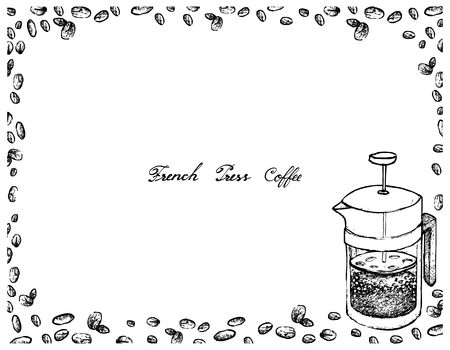 Illustration Hand Drawn Sketch of Coffee Beans with French Press Pot or Cafetiere a Piston, A French Traditional Coffee Maker.