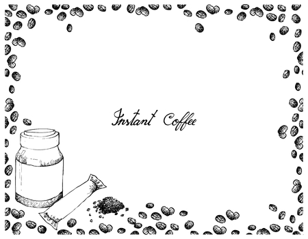 Illustration Hand Drawn Sketch of Instant Coffee or Coffee Powder with Beans Isolated on White Background.