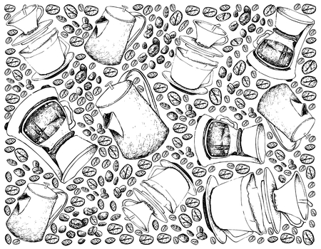 Illustration Wallpaper Background of Hand Drawn Sketch of Coffee Beans with Drip Coffeemakers and Pots Isolated on White Background. An Appliance Used to Brew Coffee