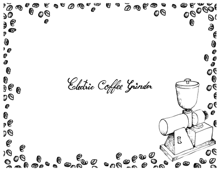 Illustration Hand Drawn Sketch of Roasted Coffee Beans with Electric Coffee Grinder or Burr Mill Isolated on White Background. Stock Illustratie