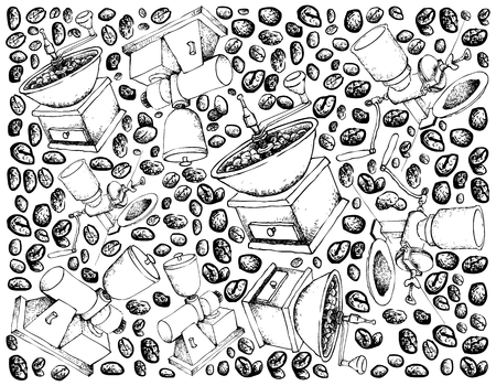 Illustration Wallpaper Background of Hand Drawn Sketch of Roasted Coffee Beans with Coffee Grinder or Burr Mill Isolated on White Background.