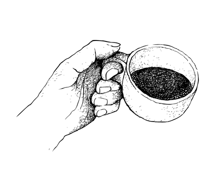 Coffee Time, Illustration Hand Drawn Sketch of Hand Holding A Cup of Coffee Isolated on White Background.