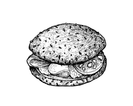 Illustration Hand Drawn Sketch of Delicious Homemade Freshly Healthy Whole Grain Bread Sandwich with Bacon, Lettuce, Tomato, Cheese and Lettuce Isolated on White Background.