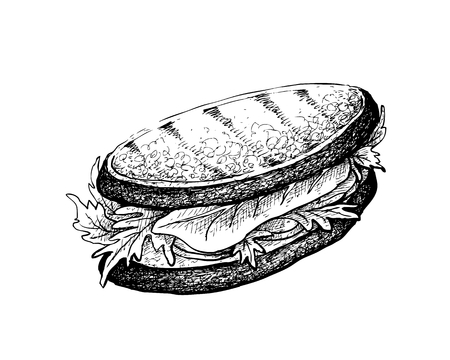 Illustration Hand Drawn Sketch of Delicious Homemade Freshly Grilled Sandwich with Bacon, Tomatoes, Lettuce and Cheese Isolated on White Background.
