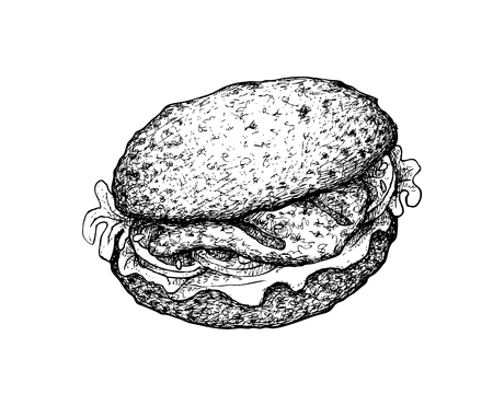 Illustration Hand Drawn Sketch of Delicious Homemade Freshly Grilled Grouper Sandwich or Layer Hamburger Buns with Lettuce and Meat with Tartar Sauce Isolated on White Background.
