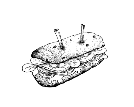 Illustration Hand Drawn Sketch of Delicious Homemade Freshly Baguette Sandwich with Ham, Tomatoes, Lettuce, Onion and Cheese Isolated on White Background. Ilustracje wektorowe