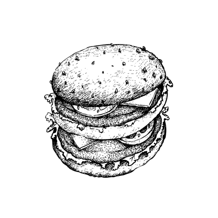 Illustration Hand Drawn Sketch of Delicious Beef Burgery with Lettuce, Tomato, Onions and Cheese on Wheat Buns.  イラスト・ベクター素材