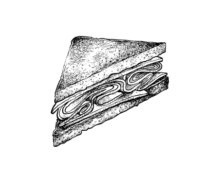 Illustration Hand Drawn Sketch of Delicious Homemade Freshly Club Sandwiches or Clubhouse Sandwiches Isolated on White Background.