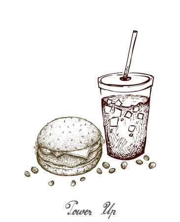 Power Up, Illustration Hand Drawn Sketch of Delicious Pork Burgery with Lettuce, Tomato, Onions and Cheese on Wheat Buns and Iced Coffee or Iced Tea. Illustration