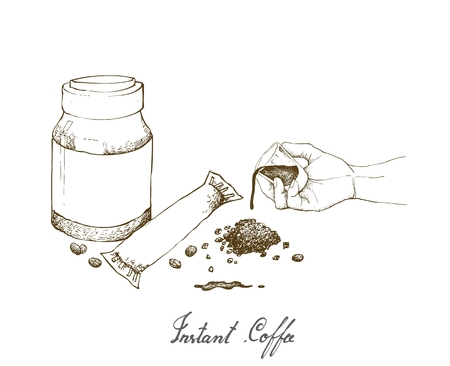 Illustration Hand Drawn Sketch of Hand Holding Shot Glass with Instant Coffee or Coffee Powder Isolated on White Background. Иллюстрация