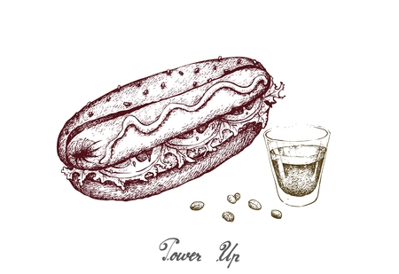 Power Up, Illustration Hand Drawn Sketch of Delicious Grilled Hot Dog with Mustard and A Shot of Espresso Coffee Isolated on White Background.