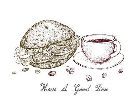 Have A Good Time, Illustration Hand Drawn Sketch of A Cup of Coffee with Hamburger Isolated on White Background.