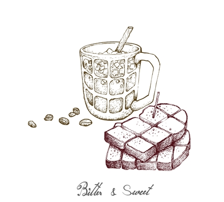 Bitter & Sweet, Illustration Hand Drawn Sketch of Delicious Homemade Freshly Baked Bread or Toast with Iced Coffee Isolated on White Background. Illustration