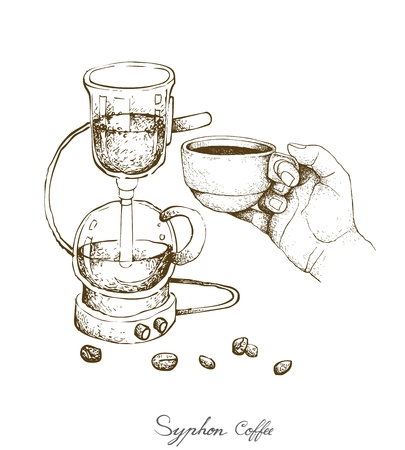 Illustration Hand Drawn Sketch of Vacuum Coffee Maker or Syphon Coffeemaker Isolated on White Background. An Appliance Used to Brew Coffee.
