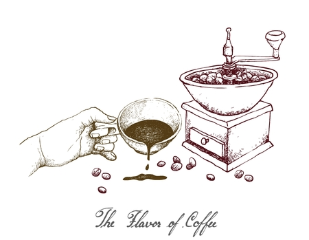 The Flavor of Coffee, Illustration Hand Drawn Sketch of Hand Holding A Cup of Coffee with Traditional Manual Grinder Isolated on White Background.