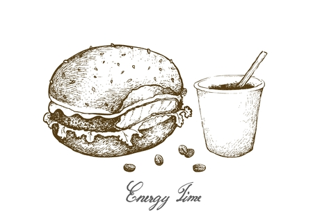 Energy Time, Illustration Hand Drawn Sketch of A Cup of Coffee with Hamburger Isolated on White Background.