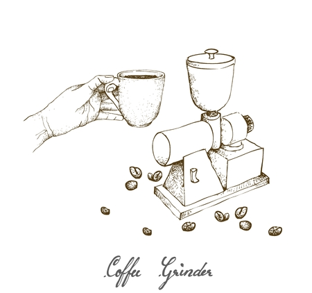 Illustration Hand Drawn Sketch of  Hand Holding A Shot of Espresso with Traditional Manual Coffee Grinder or Burr Mill Isolated on White Background. Stock Illustratie