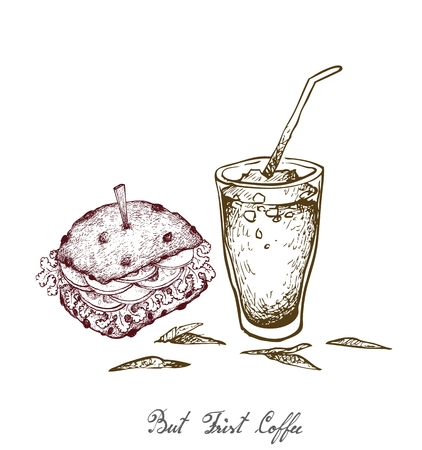 But Frist Coffee, Illustration Hand Drawn Sketch of Delicious Pork Burgery with Lettuce, Tomato, Onions and Cheese on Wheat Buns and Iced Coffee or Iced Tea.